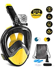Glymnis Snorkel Mask Full Face Snorkeling Mask 180°View Adjustable Free Breathing Anti-Leak Design with Carry Bag and Camera Mount for Kids and Adults