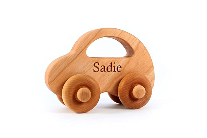 Natural Love Bug Car A Personalized Wooden Toy Handcrafted With Sustainable Hardwoods Waldorf Baby And Toddler Organically Finished
