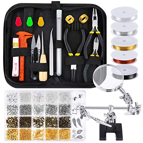 PP OPOUNT Jewelry Making Supplies Wire Wrapping Kit with Jewelry Beading Tools, Jewelry Wire, Helping Hands, Jewelry Findings and Pendants for Jewelry Making and Repairing