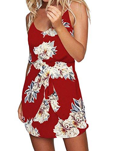 ACHIOOWA Sommerkleid Damen Ärmellos Chiffon Strandkleid V-Ausschnitt Bohemian Casual Sexy Minikleid mit Träger