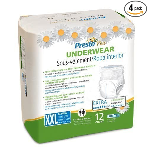 Amazon.com: Presto Protective Underwear, XX-Large, 12-Count (Pack of 4): Health & Personal Care