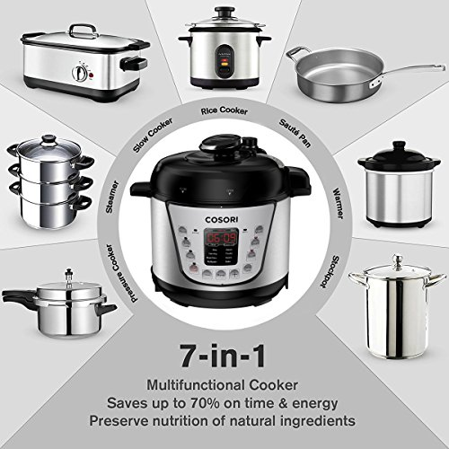 COSORI Mini 2.1 Qt 7-in-1 Multi-Functional Programmable Pressure Cooker, Slow Cooker, Rice Cooker, Sauté, Steamer, Yogurt Maker & Warmer, Includes Glass Lid, Sealing Ring and Recipe Book by COSORI (Image #2)