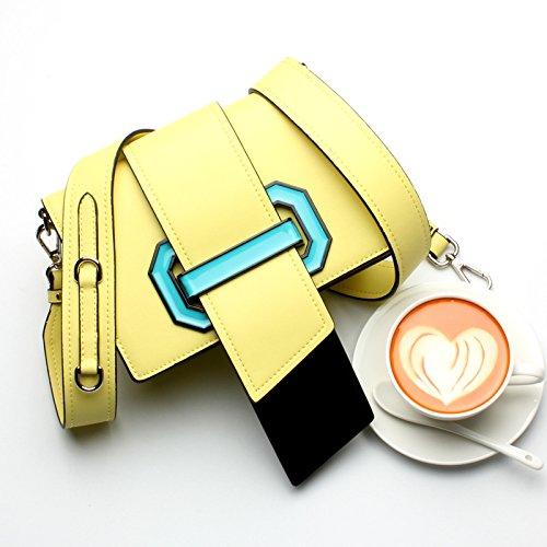 GUANGMING77 Kleines Paket Bag Lady_Zunge Breite Träger Farbe Kleine Verpackung Beutel Zunge yellow