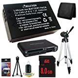 Canon EOS M 18 MP CMOS Mirrorless Digital SLR Camera LP-E12 Lithium Ion Replacement Battery + 8GB SDHC Class 10 Memory Card + Full Size Tripod + SDHC Card USB Reader + Memory Card Wallet + Deluxe Starter Kit Bundle DavisMAX EOS M Accessory Kit