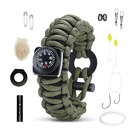 Survival Bracelet: Best Paracord Wristband With Compass Wrist Strap Rescue Gear. Emergency Fire Starter Kit Tactical Rope Cord Ultimate Bracelets for Men & Kids Camping Band, Hunting, Fishing, Hiking