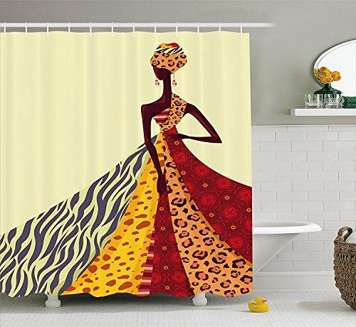 Con Doccia 72 Disegno Tessuto Arredo In Ragazza Differente Fantasia 60 Di Abito Bagno Afro Africana Un Tenda X Posa Della h Impostato Immagine w AB5w00