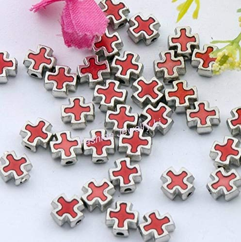 Calvas Enamel Square Knights Templar Cross Beads 8MM Jewelry DIY L1556 27pcs 9 Colors - (Color: red)