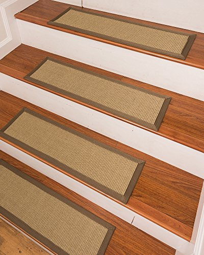 NaturalAreaRugs Eastland Sisal Carpet Stair Treads Set of 13 9' x 29' ft - Bamboo Stair Treads