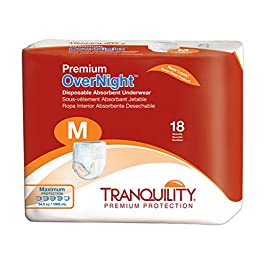 TRANQUILITY Premium Overnight Disposable Absorbent Underwear (DAU) – MD – 72 ct, White (B0039Y1MLA)