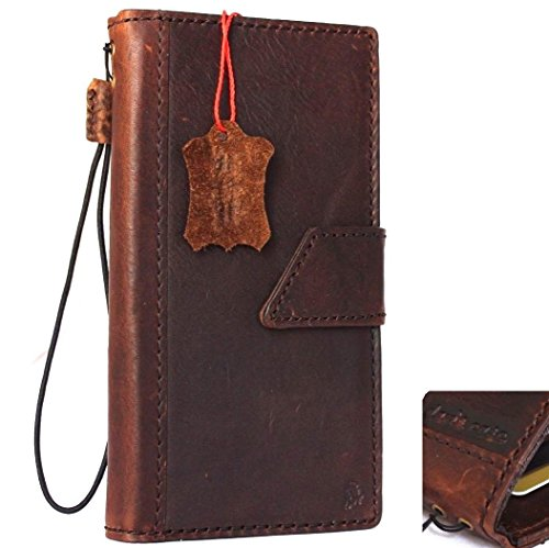 Genuine Real Leather Case for Apple iPhone 8 Plus Book Wallet Thin Magnetic Cover Handmade Retro Luxury Dark Soft Cards Slots Slim Daviscas