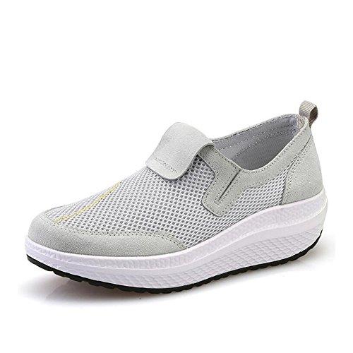 SHINIK Zapatos de mujer New Thick Bottom Atlético Casual Unning Zapatos Mesh Shaking Shoes Transpirable Mediana edad Mom Shoes Primavera Verano Nuevo Do