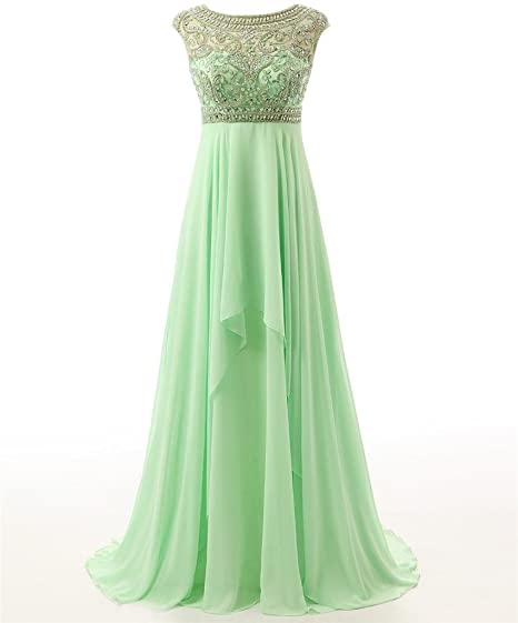 Changjie Womens Sheer Beading Chiffon Long Bridesmaid Dresses Mint Green