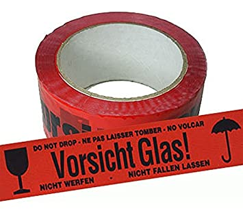 18 Rollen Midori Packband Klebeband Vorsicht Glas Rot Paketband 48 mm x 66 m