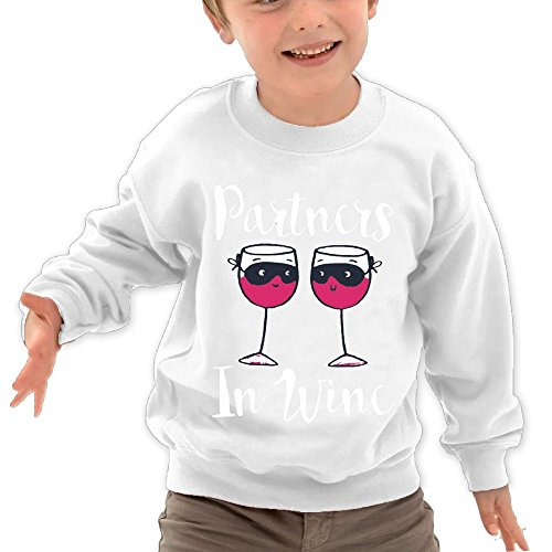 Puppylol Partners In Wine Kids Classic Crew-Neck Pullover Sweatshirt White 3 Toddler