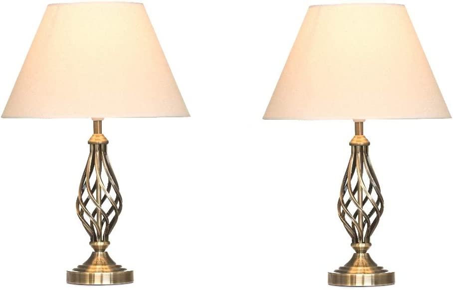 Kingswood Barley Twist Traditional Table Lamps & Shades Bedside Lamps Antique Brass (Pair of 2)