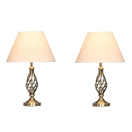 Kingswood Barley Twist Traditional Table Lamps Shades Bedside Lamps Antique Brass Pair Of 2