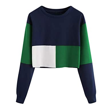 c1458b05d731 Women Pullover Long Sleeve Shirts Teen Girls Color Block Sweatshirts ...