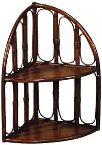 Hansen 2508 - Estantería de pared de mimbre (2 baldas, 34 x 34 x 56 cm), color marrón oscuro