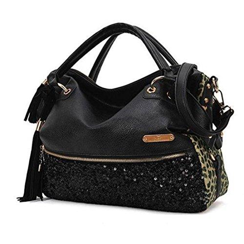Bag Fashion Leopard (Jiyaru Women's Fashion Sexy Sequin Print Handbag Shoulder Bag Tote Purse Leopard)