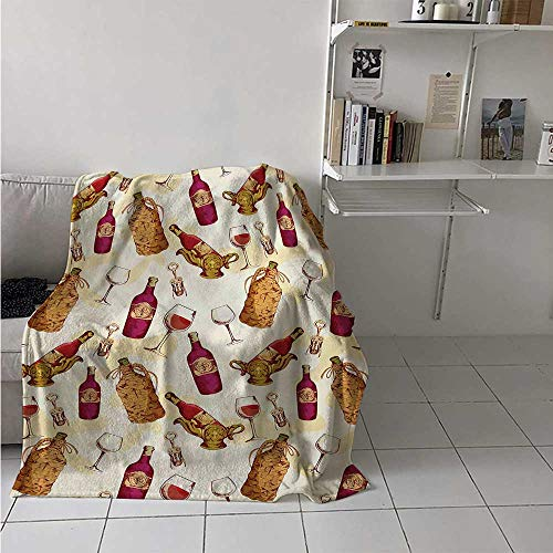 maisi Winery Digital Printing Blanket Vintage Pattern with Glass Bottle Corkscrew Country Restaurant Table Summer Quilt Comforter 62x60 Inch Fuchsia Ruby Pale Brown