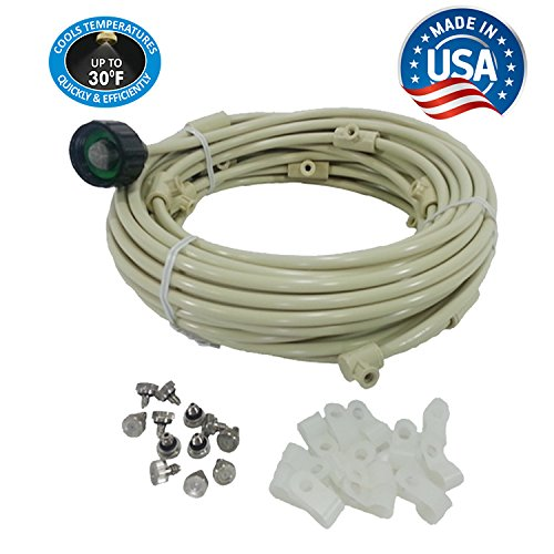Patio Misting Kit - Pre- Assembled Misting System - Cools temperatures by up to 30 degrees - Brass/Stainless Steel Misting Nozzles - For Patio, Pool and Play areas (24 ft - 4 Nozzles) - 24' End Deck System