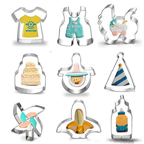 Cookie Hat Party - Baby Shower Cookie Cutter Set - 9 Piece Baby Birthday Party Stainless Steel Biscuit Cutter Mold,Hat, Cake, Baby Pants, Clothes, Nipple, Banana, Windmill, Bottle, Baby Carriage