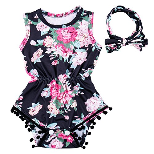 Baby Girls RomperRomper Outfits Set, Summer Floral Baby Tassel Jumpsuit with Bow-Knot Headband (0-6 (Make Floral Bow)