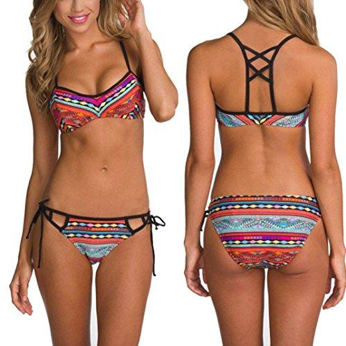 Women Bandage Bikini Set Push-up Padded Bra Swimwear - 4