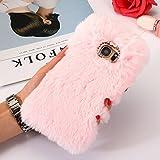 Protective Case for Samsung A5 (2017), SevenPanda Plush Rabbit Hair Case Handmade Cute 3D Diamond Rhinestone Bling Crystal Bow Soft Wool Warm Fluffy Thin Shell for Samsung Galaxy A520 2017 - Pink