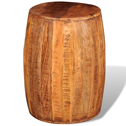 Festnight Rough Mango Wood Drum Stool