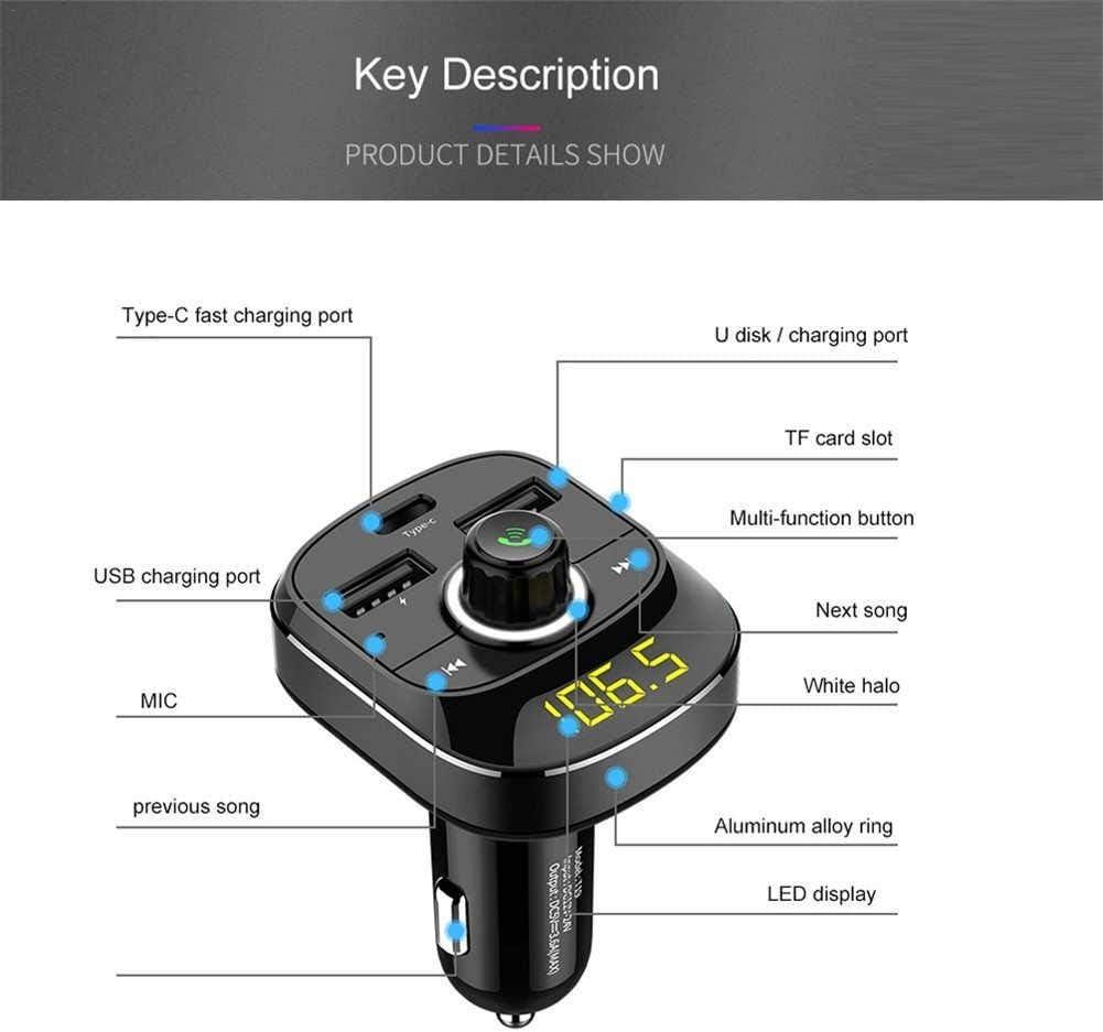 Support T/él/éphone Mobile//R/éseau//Toutes Sortes De Lecture De Logiciels Logiciels APP lennonsi Transmetteur FM Bluetooth Car MP3 Player Kit Mains Libres 3.1A Double Chargeur De Voiture Type-c USB
