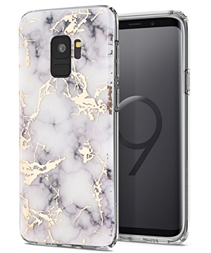(Galaxy S9 Case,Samsung Galaxy S9 Case,Spevert Marble Pattern Hybrid Hard Back Soft TPU Raised Edge Ultra-Thin Shock Absorption Slim Protective Cover Case for Samsung Galaxy S9 2018 - White)
