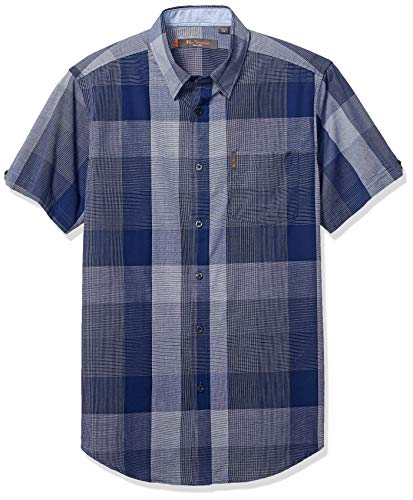 (Ben Sherman Men's SS Exploded Check Shirt, Blue,)