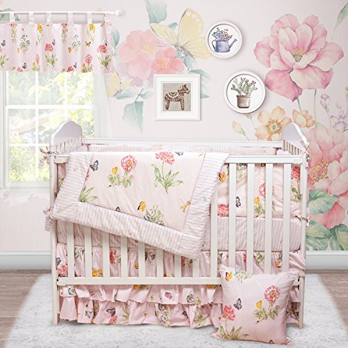 Baby Bedding Crib Luxury (Brandream Butterfly Baby Bedding Girls Pink Floral Crib Bedding Set with Bumper Chic Nursery Bedding, Perfect Baby Shower Gift, 9 Pieces)