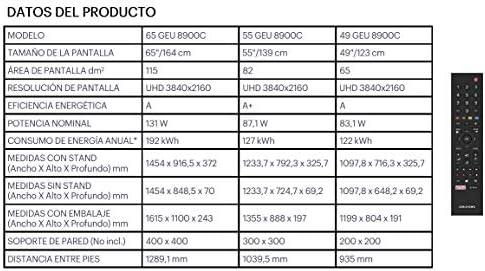 TV Led Grundig 49GEU8900C 49 Pulgadas, UHD 4K, HDR10, Smart TV, WiFi, Bluetooth: Amazon.es: Electrónica
