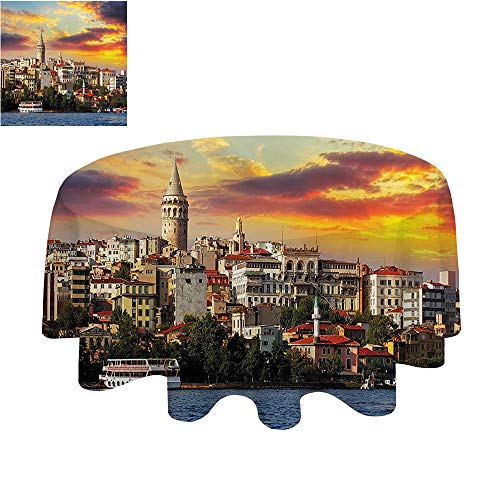 SATVSHOP Waterproof and Anti-fouling Tablecloth - round50Inch-European Cityscape Istanbul at Sunset with The Sea Capital of Byzantine Old Oman Ancient Tower