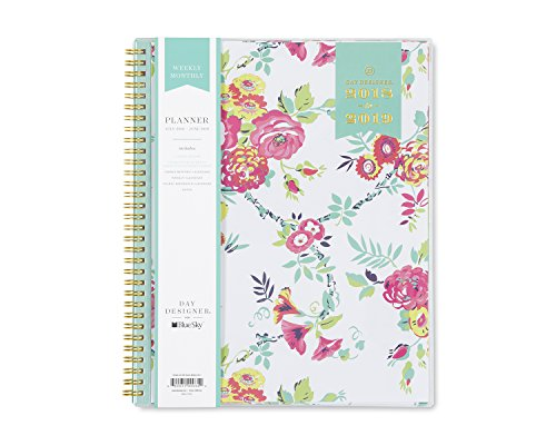 Day Designer for Blue Sky 2018-2019 Academic Year Weekly & Monthly Planner, Flexible Cover, Twin-Wire Binding, 8.5