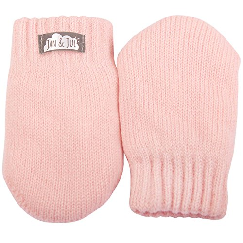 Baby toddler warm fleece lined thumbless knit mittens for fall winter (Mitten S: 0-9m, Pale Pink)