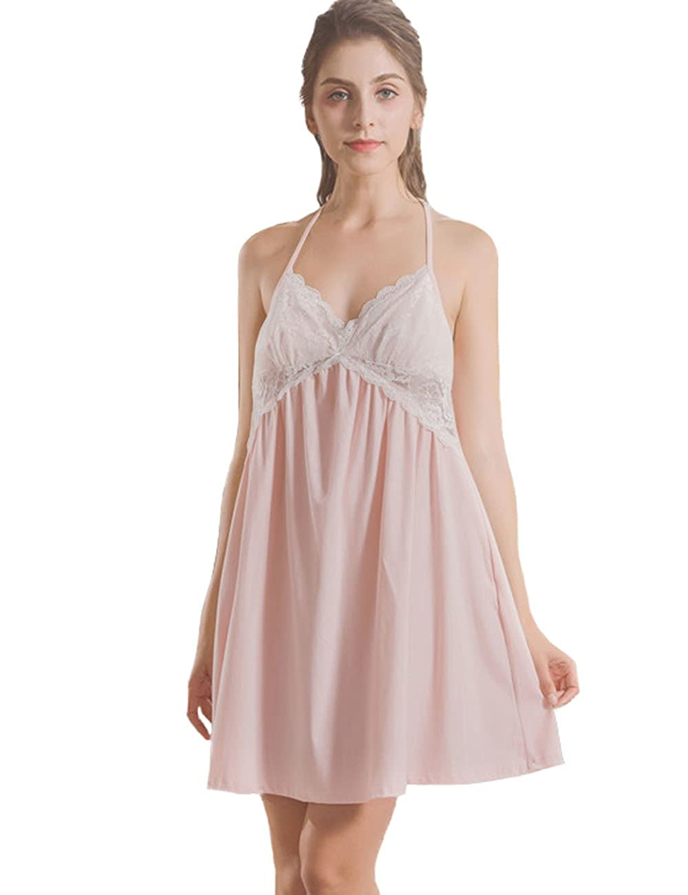 a0dc2356de AIKOSHA Womens Princess Style Halter V-Neck T Back Lace Trim Short Swing Pink  White Cotton Nightgown at Amazon Women s Clothing store