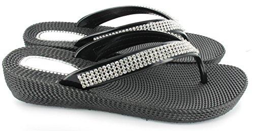 Confortables femme pour Tongs à talon plage la pour Noir 41 Idéal 36 avec à petit strass compensé Pointures Yq08Yr