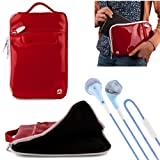 VG Hydei Red Patent Leather Bag Carrying Case for HP Slate 7, Extreme, Plus, HD 4G, Beats Special Edition 7' Tablet + Blue VanGoddy Headphones