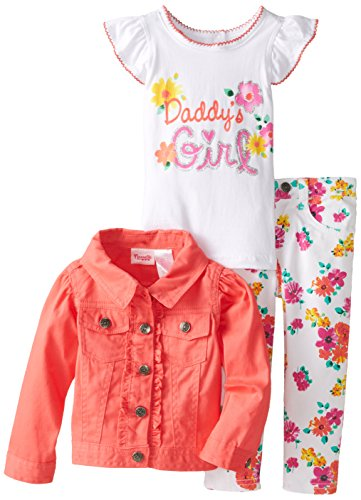 3 Piece French Terry Jacket - Nannette Little Girls' 3 Piece French Terry Set with Pullover, Coral, 3T
