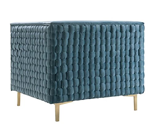 """TOV Furniture The Sal Collection Modern Style Woven Velvet Upholstered Living Room Accent Chair, Sea Blue - Exceptionally Sized: This Chair In The Sal Collection Measures 34.7""""W x 33.5""""D x 28.8""""H and Weighs 55.2lbs. To Perfectly Fit Any Living Room, Den, or Any Desired Area In Your Home. Some Assembly Is Required With This Chair. Built With Quality and Comfort In Mind: Each Sal Chair Is Made With You In Mind, Built To Last With A Soft and Luxurious Velvet Upholstery and Strong and Sturdy Stainless Steel Legs That Serve To Make This Chair A Lasting Fixture In Your Home For Years To Come. Pair This Chair With The Sal Bench To Compete The Collection. Designed With A Modern Sensibility: This Chair In The Sal Collection Includes A Classically Colored Velvet Upholstery That Is Complimented By A Woven Pattern On The Outsides and Shapely Gold Legs That Ensure This Chair Will Leave An Impression. - living-room-furniture, living-room, accent-chairs - 51DZjL1L3HL -"""