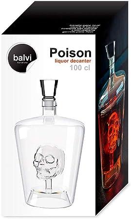 Balvi-PoisonBotellaparaLicor.Licorerade1LdeCapacidad.ContieneunaCalaveraensuInterior.FabricadaenVidrio.