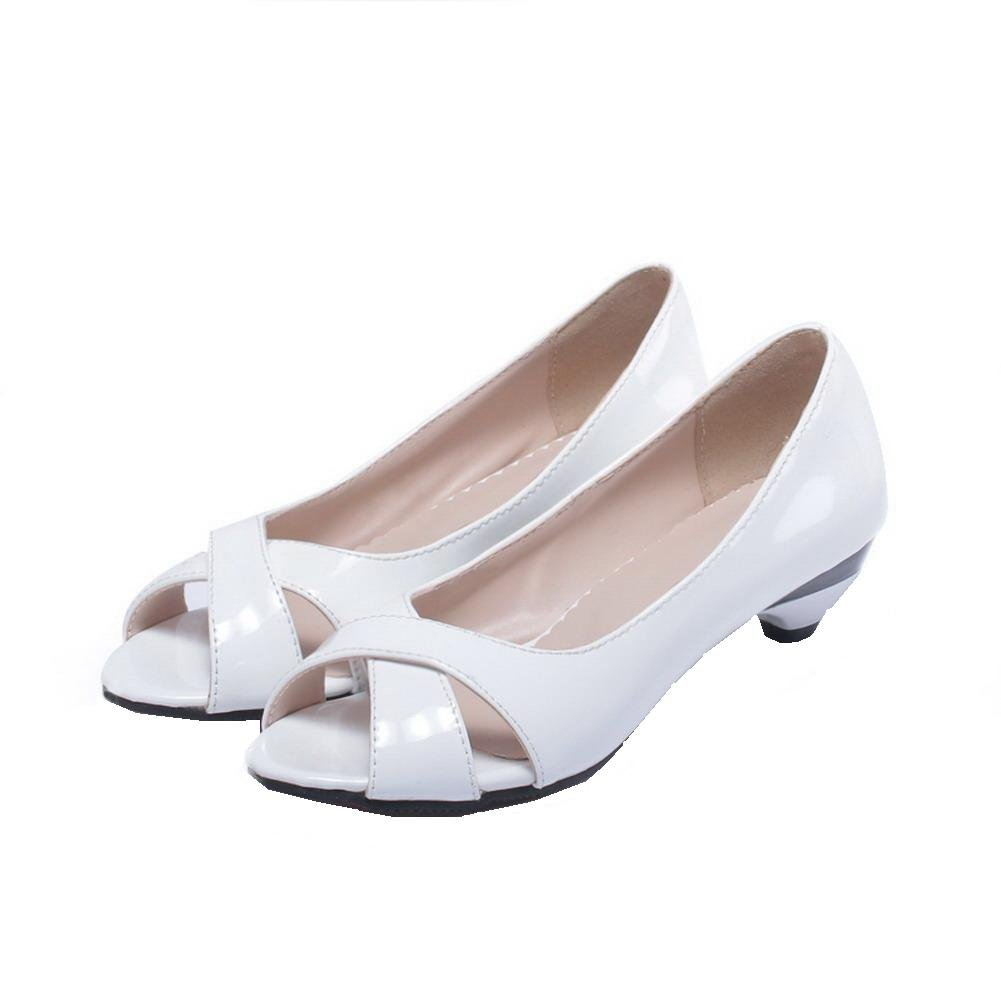 c431719f16bf AalarDom Womens Pull-On Pull-On Pull-On Peep-Toe Low-Heels Patent ...