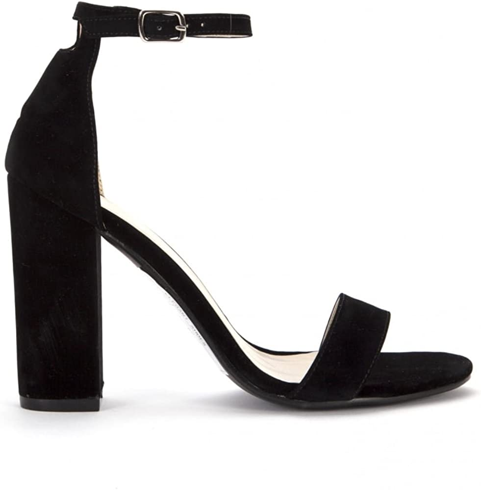 Faux Suede Peep Toes Ankle Strap