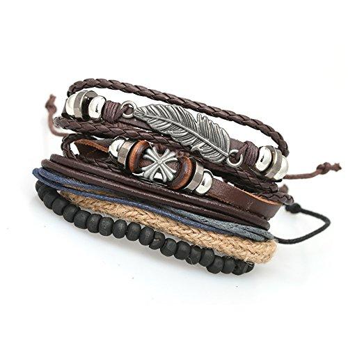 (KSQS Multilayer Adjustable Leather Woven Braided Bangle Cross Bracelet Leaf Wrist Cuff Wristband)