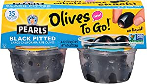 Pearls Olives To Go! Large Ripe Pitted Black Olives, 6 Packages of (4) 1.2 Ounce Servings