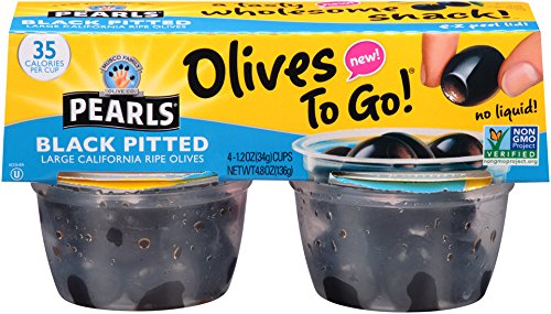 Olives Black Pitted Medium (Pearls Olives To Go! 1.2 oz. Large Ripe Pitted Black Olives, 24-Cups)