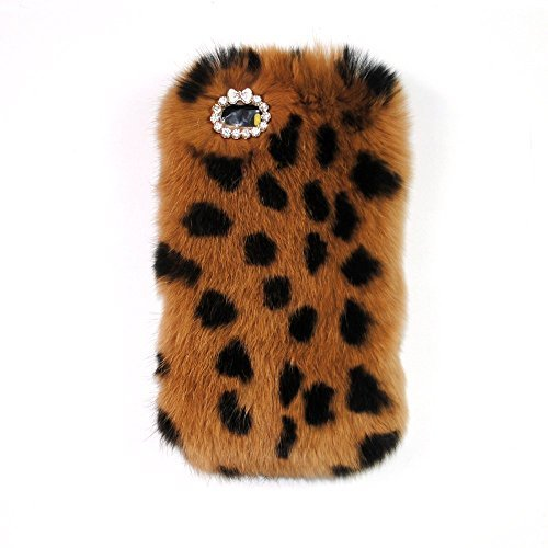 iPhone 6 Plus/6s Plus 5.5 Inch Fur Hair Case-Aurora Leopard iPhone 6 Plus Handmade Soft Warm Hair Case with Butterfly Crystal Rhinestone for iPhone 6s Plus ()